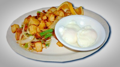 Two Eggs Poached w/Home Fries